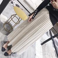 秋冬季新款韩版高腰毛线裙子中长款羊绒针织半身裙百褶过膝长裙女 均码
