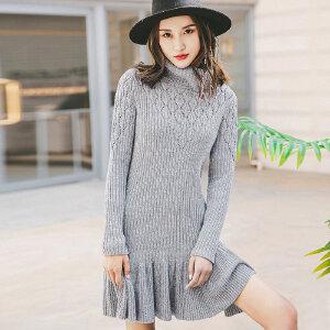 裂帛女装2018春装新款复古高领镂空长袖裙子百搭毛织连衣裙