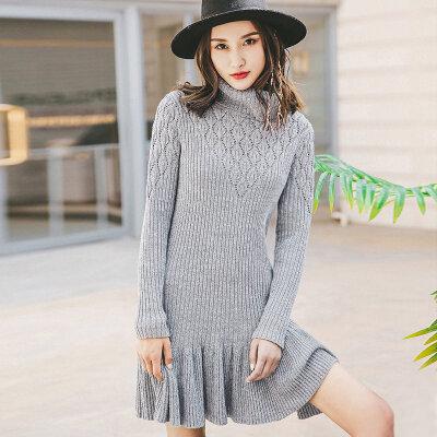 裂帛女装2017秋装新款复古高领镂空长袖裙子百搭毛织连衣裙