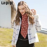 Lagogo2019冬季新款方领单排扣格子外套女淑女气质大衣ICWW549C41