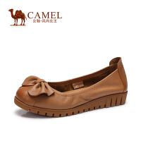 Camel/骆驼女鞋 通勤百搭单鞋 春季新款休闲低跟蝴蝶结女鞋