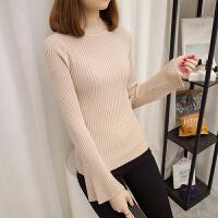2017秋冬韩版半高领毛衣女修身显瘦打底衫喇叭袖套头加厚针织衫