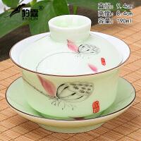 大号单个三才泡茶功夫陶瓷茶具青瓷盖碗茶杯茶碗茶具