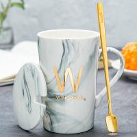 潮流情侣男女家用个性咖啡牛奶茶杯创意陶瓷马克水杯子带盖勺