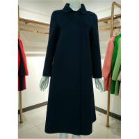 新女士外套17年新品双面羊毛呢子中长大衣8126伊曼女装羊绒外套专柜同款