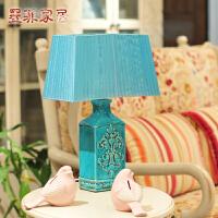 丝若兰欧式创意复古裂纹陶瓷台灯 客厅卧室床头灯具