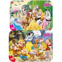 【当当自营】迪士尼拼图玩具 100片铁盒木质拼图二合一(公主2423+公主2424)