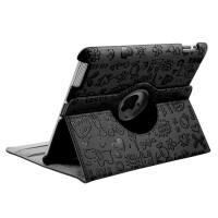 ikodoo爱酷多 苹果平板电脑iPad2/3/4可爱立体压花旋转保护套 Smart Cover智能休眠 旋转支架式皮