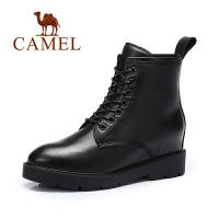 Camel/骆驼女鞋 时尚内增高短靴 简约系带马丁靴