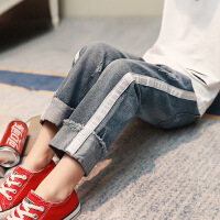 女童牛仔裤2018秋装新款休闲裤韩版童裤中大女孩长裤儿童裤子女B103 浅蓝色