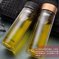 双层玻璃杯泡茶杯子男士便携大容量带滤网透明水杯