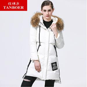 坦博尔2017秋冬季新款韩版印花大毛领羽绒服女时尚印花外套TB3690