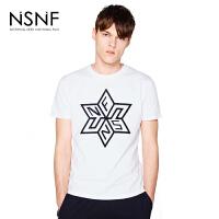 NSNF多边型图案植绒纯棉圆领白色T恤男 短袖t恤男装2017新款 修身圆领针织短袖