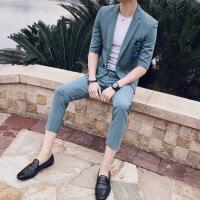 帅气五分袖西服套装男士夏装韩版修身九分裤休闲小西装潮半袖XZ140A