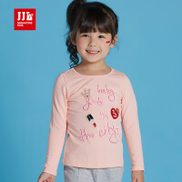 JJLKIDS季季乐女童T恤中小童秋季新款时尚圆领长袖上衣童装GQT63053