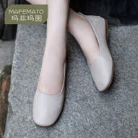 玛菲玛图奶奶鞋女2020新款春秋季软皮鞋真皮两穿踩跟复古软底不磨脚女鞋子1388-2