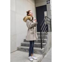 反季毛呢外套女韩版新款中长款大毛领呢子大衣2018流行赫本风外套