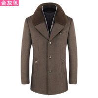 冬季中老年毛呢大衣男短款加绒加厚爸爸装中长款呢子大衣中年外套8898 金
