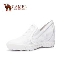 Camel/骆驼女鞋 潮流时尚 全粒面牛皮圆头内增高女鞋 新款