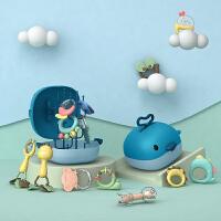 【可水煮带沥水架】婴儿玩具牙胶摇铃可咬牙胶新生幼儿水煮摇铃
