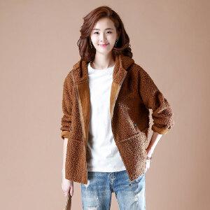 【仅限今日,下单立减50】羊羔毛连帽长袖短款外套女冬宽松休闲夹克大码上衣