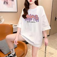 千喜步步高2021新款夏装字母图案印花宽松圆领短袖T恤女