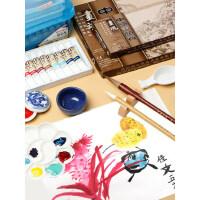 国画工具套装颜料12色18色24色儿童毛笔小学生初学者入门矿物颜料水墨工笔画全套材料工笔画成人专业用品箱