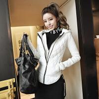 2018韩版春季新款假两件连帽拉链棉卫衣外套休闲时尚女装修身显瘦 白色