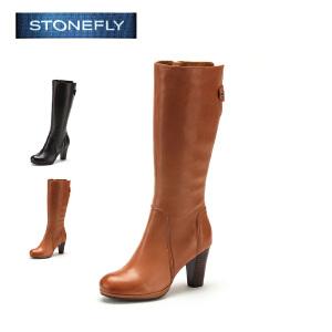 STONEFLY/斯通富来羊皮粗跟高跟圆头时尚百搭温暖舒适长靴女靴SD44111301