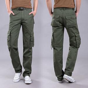 新款工装裤男宽松直筒休闲裤男户外运动裤四季裤男多口袋