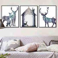 墨菲 麋鹿一家北欧客厅装饰画挂画现代简约美式壁画餐厅三联一套