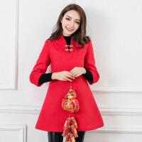 红色连衣裙秋冬中式礼服女裙子新娘喜庆结婚夹棉加厚旗袍改良毛呢 红色