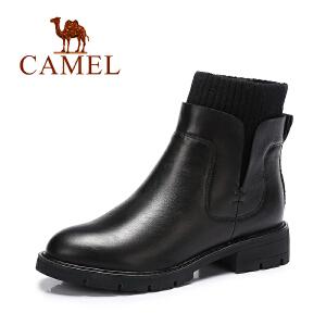 Camel/骆驼女靴 春季新款舒适保暖女靴短靴休闲简约平跟棉靴