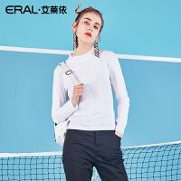ERAL/艾莱依夏款上衣女2018新款修身长袖T恤女半高领简约打底衫潮