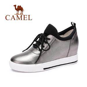 Camel/骆驼女鞋 新款  舒适休闲内增高单鞋系带高帮鞋