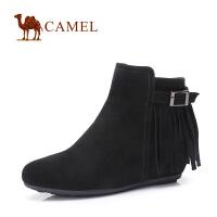 camel 骆驼女靴 羊�S女鞋流苏中跟短靴
