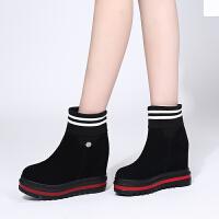 靴子女短靴厚底秋季坡跟冬天2019秋款百搭内增高8cm加绒女鞋 白色 加绒棉里