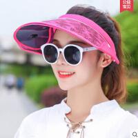 防晒帽 防紫外线遮阳帽女可伸缩遮脸户外出游空顶 骑车帽子