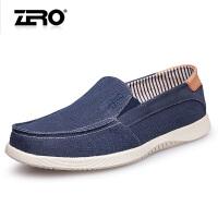 零度尚品 帆布鞋 男2016夏季新款时尚休闲鞋透气轻便套脚男士布鞋H62019