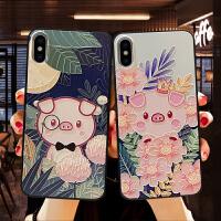 卡通可爱iPhone xr手机壳硅胶苹果xs max保护套女款软7plus全包防摔浮雕潮6s小清新个性创意小猪8x新款