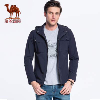 骆驼牌男装新款时尚休闲舒适防风保暖可脱卸帽外套夹克男
