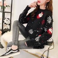 宽松针织衫打底衫孕妇秋冬装毛衣韩版时尚圣诞中长款上衣