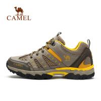 camel骆驼男鞋 春季新款时尚情侣款运动鞋 牛皮网布登山鞋