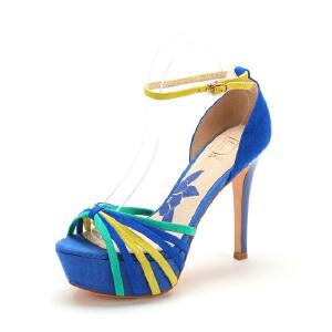 【3折到手价143.7元】迪芙斯D:FUSE绒面羊皮圆头高跟搭扣拼色凉鞋女DF42110070