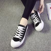 白领公社 帆布鞋 女士贝壳头系带单色防滑耐磨平底鞋初秋韩版女式新款时尚百搭学生款鞋子