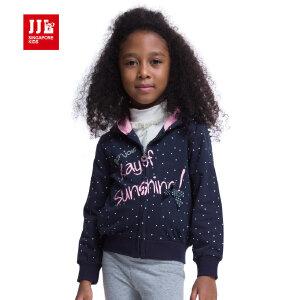 jjlkids季季乐童装女童春秋季连帽可爱卡通印花针织中小童纯棉厚款外套GQW53225