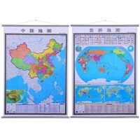 2017年新版竖版地图 正版 1.4米X1米 世界地图 中国地图 国家旗帜 知识集锦挂绳挂图 商务办公挂绳挂图 竖版地