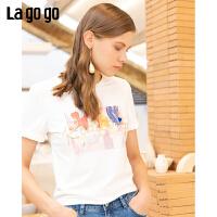 Lgogo/拉谷谷2019秋季新款亮丝字母印花短袖圆领T恤女ICTT317A01