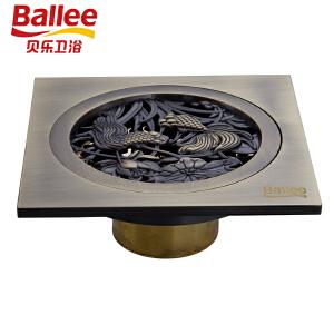 贝乐BALLEET46全铜欧式雕花防臭地漏自动密封仿古砖