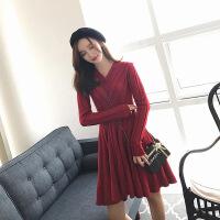 2018秋女士连衣裙2018新款秋装女韩版红色气质v领长袖针织毛衣裙子冬季打底连衣